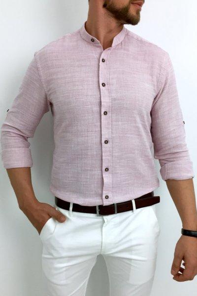 Koszula męska a la lniana różowa ze stójką 2