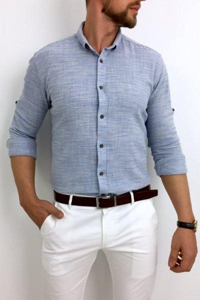 Koszula lniana niebieska z kołnierzykiem H01