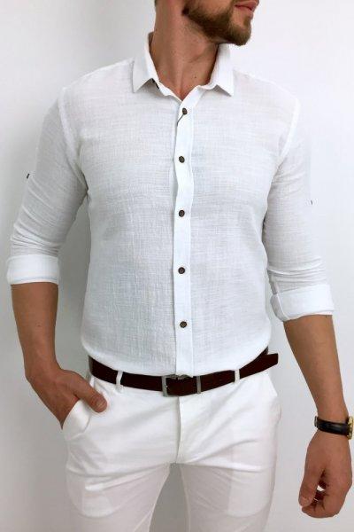 Koszula a la lniana biała z kołnierzykiem H01