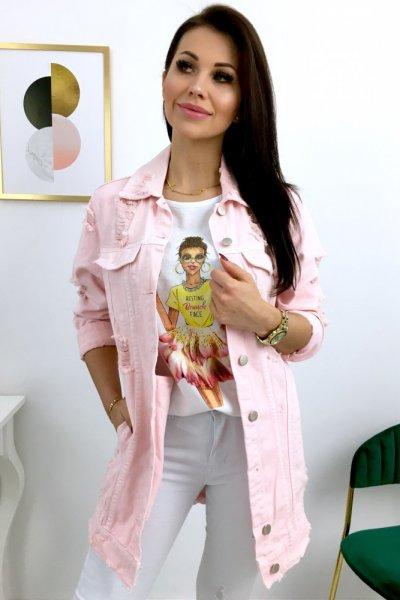 Katana/kurtka jeansowa LONG - pink