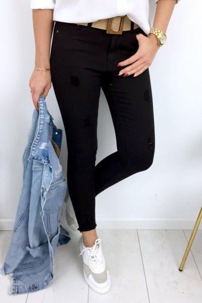 Spodnie jeans/skinny z przetarciami - black