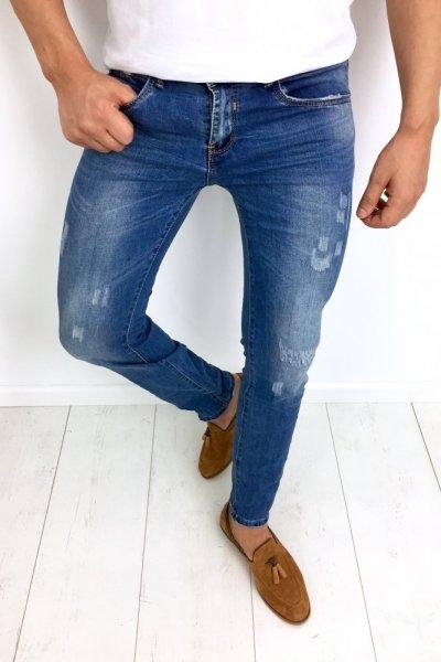 Spodnie męskie jeans z przetarciami KA318