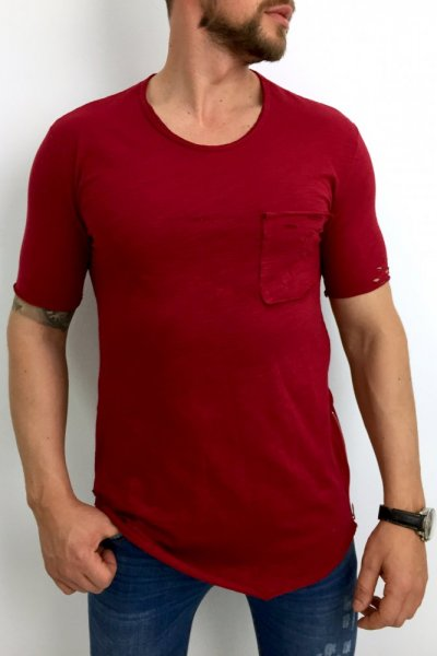 T shirt męski 20-Y027 bordo