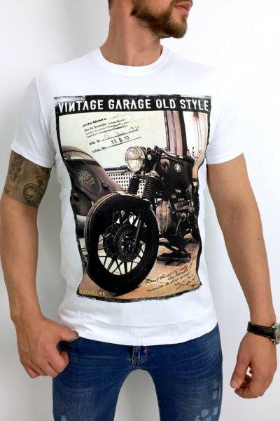 T shirt VIntage Garage biały