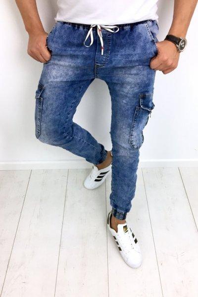 Spodnie jeansowe joggery męskie T987