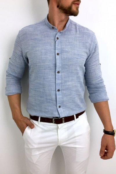 Koszula lniana niebieska ze stójką H01