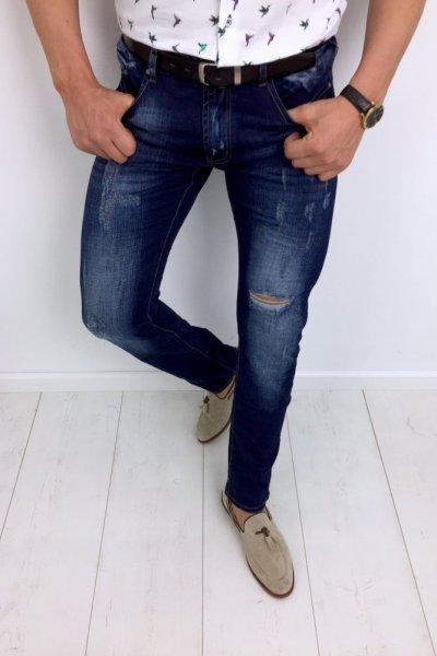 Spodnie męskie jeans z przetarciami T505