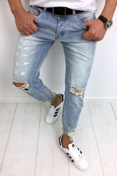 Spodnie męskie jeans z przetarciami N042-3