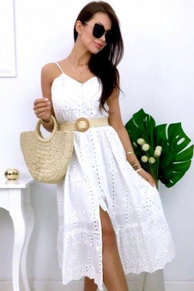 Sukienka PREMIUM midi ażur - white