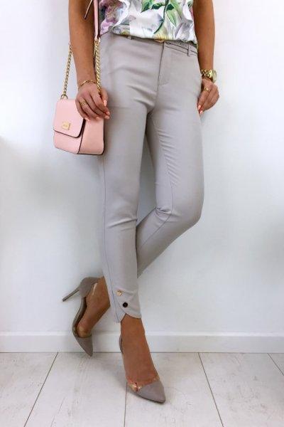Spodnie cygaretki H8891 button - grey