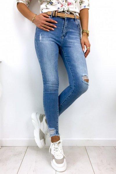 Spodnie jeansy skinny + pasek - blue