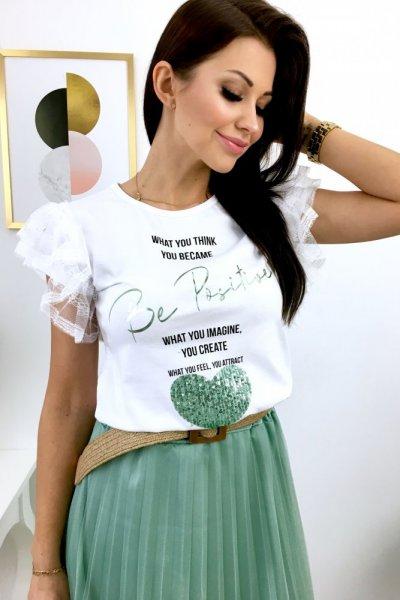 T - shirt MINT HEART - white