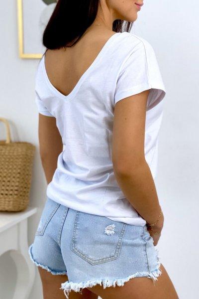 T - shirt BASIC dekolt V przód/tył - white
