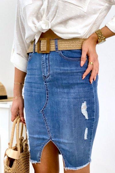 Spódnica jeans z przetarciami - blue