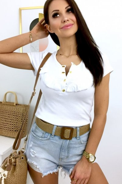 Bluzka z seri BASIC - gold button - white