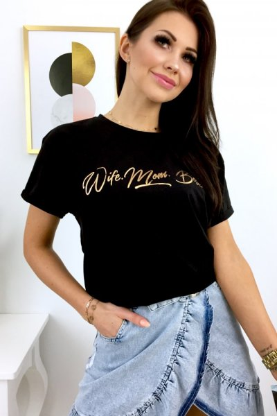 T - shirt Wife Mom Boss - black