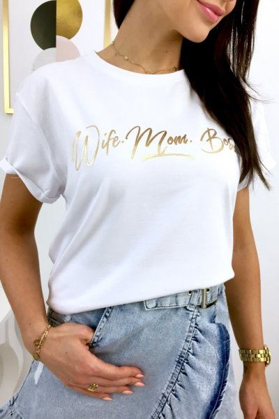 T - shirt Wife Mom Boss - white