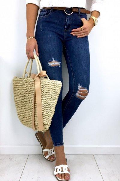 Spodnie jeansowe skinny z rudym paskiem - blue ( 3D800 )