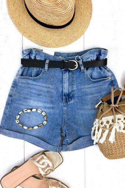 Szorty/spodenki jeans z paskiem - blue