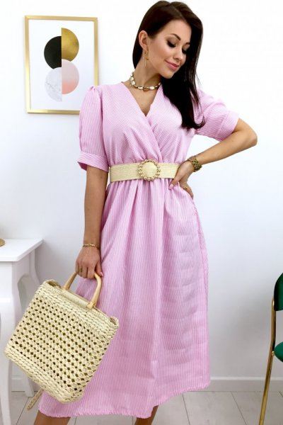 Sukienka midi w paski HAMPTONS - pink