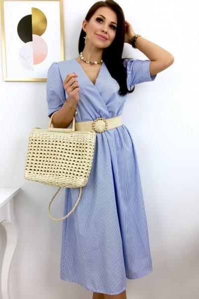 Sukienka midi w paski HAMPTONS - blue