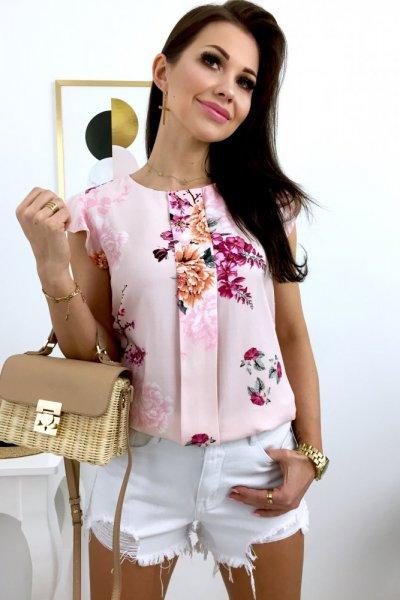 Bluzka ANGIE Flowers - pink