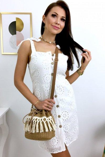 Sukienka ażurowa na ramiączka BETTI 2 - white