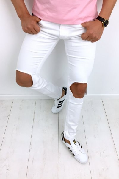 Spodnie męskie jeans E6203 białe