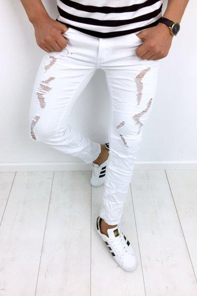 Spodnie męskie z przetarciami białe KYB972