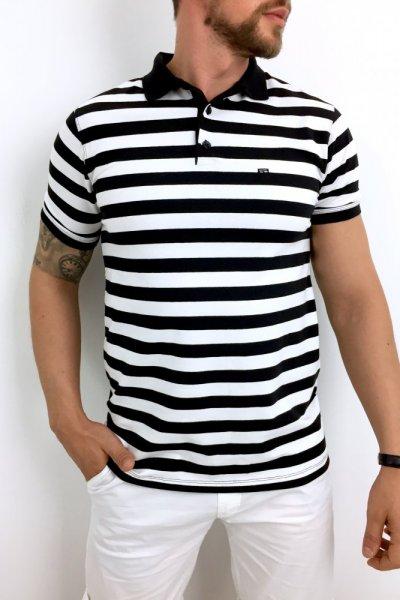 T shirt Polo w czarno białe paski