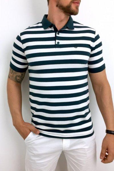 T shirt polo w zielono białe paski