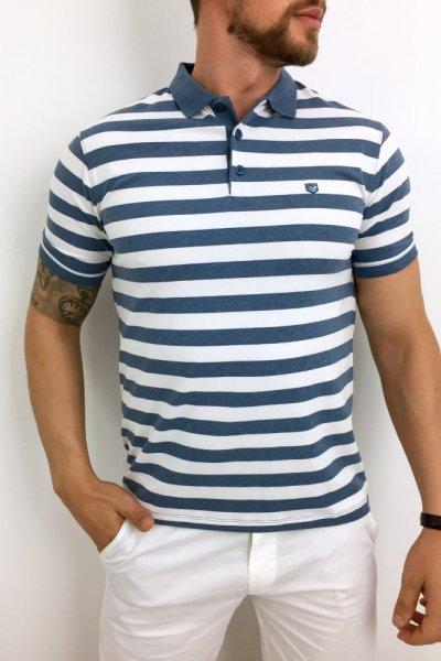 T shirt Polo niebiesko białe paski