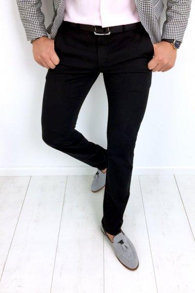 Spodnie męskie materiałowe klasyczne - H02 czarne
