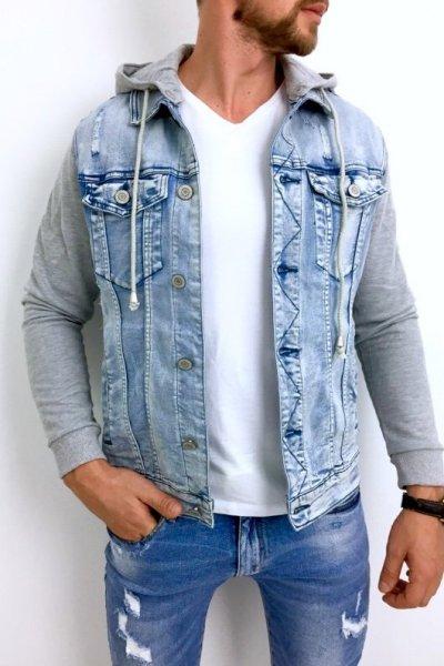 Kurtka jeans z dresowymi rękawami G029