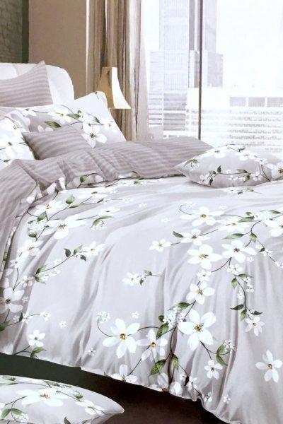 Pościel WHITE flowers + prześcieradło - 160x200
