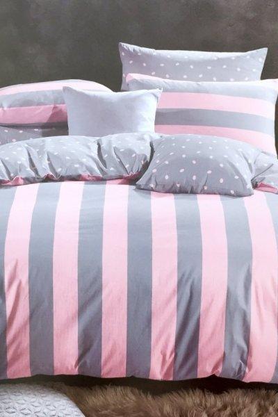Pościel PASY pink/grey PREMIUM 100% bawełna - 160x200