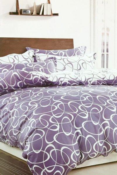 Pościel WZORY lila PREMIUM 100% bawełna - 160x200