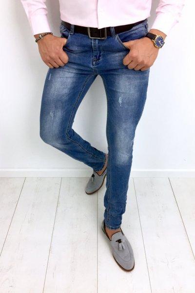 Spodnie męskie jeans z delikatnymi przetarciami NA5617