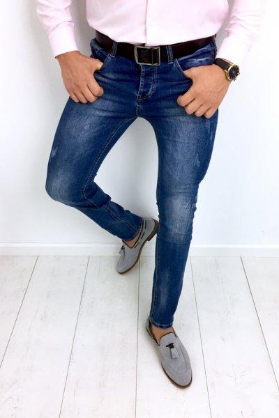 Spodnie męskie jeans z delikatnymi przetarciami NA5618