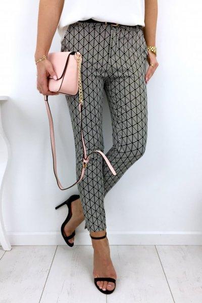 Spodnie cygaretki wzór - black/white