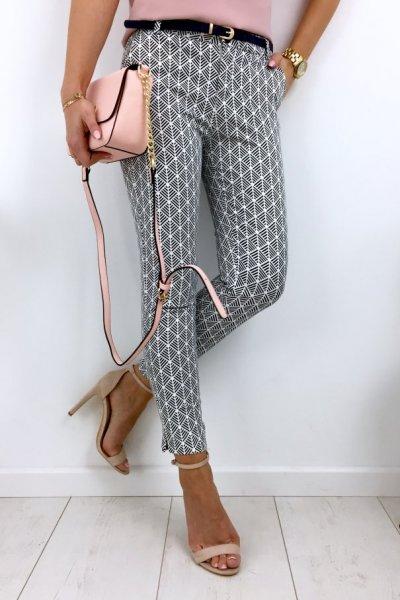 Spodnie cygaretki wzór - white/blue