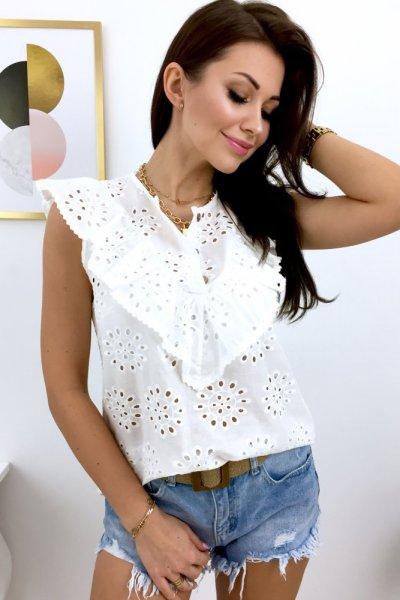 Bluzka ażurowa bez rękawa LUX - white
