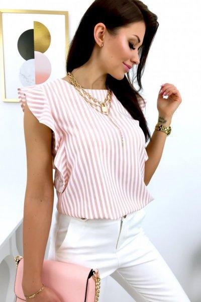 Bluzka PURRA motylek w paski - white/peach
