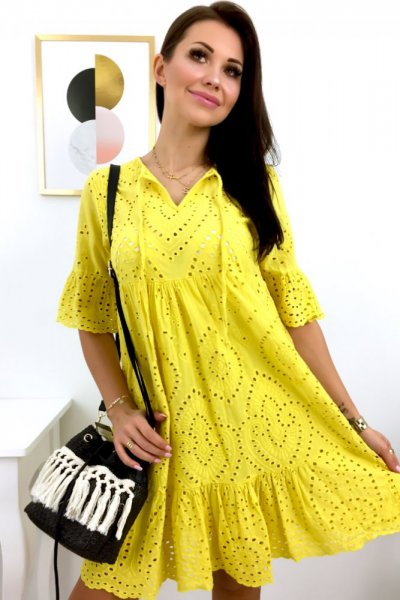 Sukienka ażurowa LUISA - cytrynowa