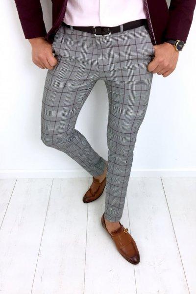 Spodnie męskie w kratę bordo H81