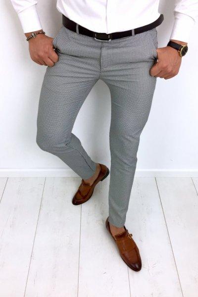 Spodnie męskie w drobną pepitkę H84
