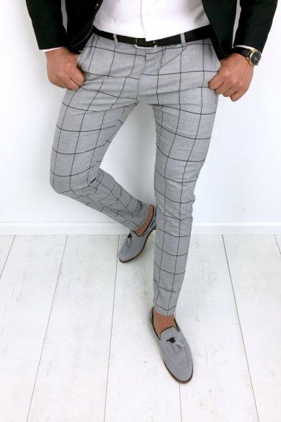 Spodnie szare w kratę H80