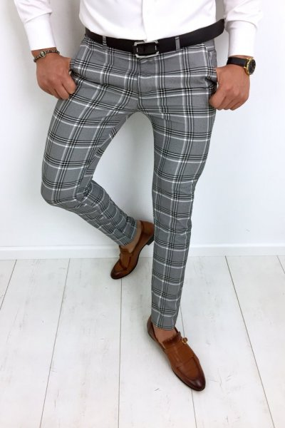 Spodnie materiałowe w kratę H83