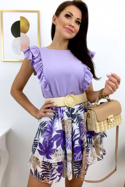 Spódnica mini szyfon FLOWERS - lila/ecru/beige