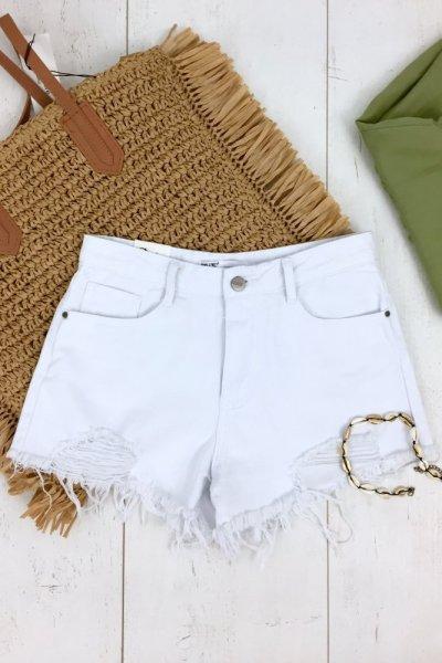 Szorty/spodenki jeans SEXY - white